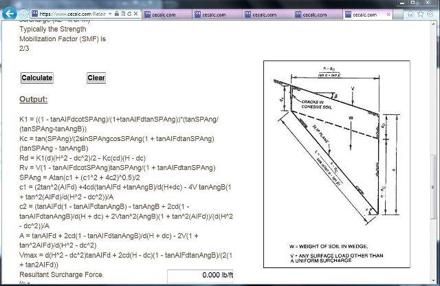 CECALCcom Retaining Wall Design Problem 1